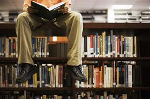 A CLIL teacher sat on a bookshelf in the library