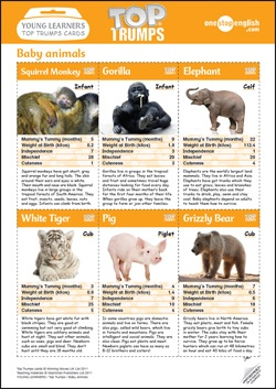 Screenshot of Top Trumps 'cut-out-and-keep' cards