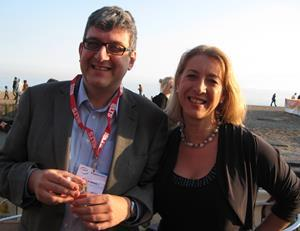 David Baker and Karen Richardson at the onestopenglish party