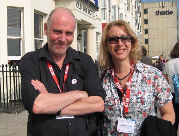 Tim Bowen and Karen Richardson outside the Old Ship hotel